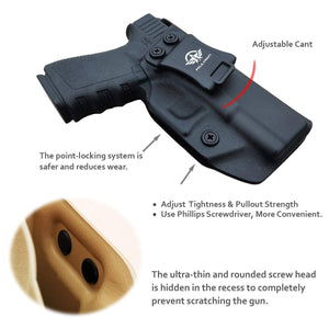 IWB Kydex Holster for Glock19 / 19X / Glock 23 / Glock 25 / Glock 32 / Glock 45 (Gen 3 4 5) - Glock 19 Holster IWB- Inside Waistband Carry Concealed - Cover Mag-Button - Widened Entrance - No Wear, No Jitter - Black - PoLe.Craft Holster & Knives