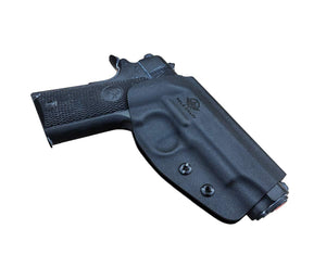 "Kydex OWB Holster Fits: Colt Commander 1911 .45 / 9mm / 4.25"" / 4.5"" / PT1911 Gun Holster Outside Waistband Carry Pistol Case 1.5-2 Inch Belt Clip With Lock - Adj. Width Height Cant - Entrance Widen - Black"