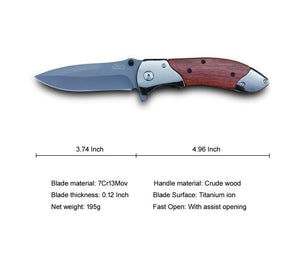 Pole.Craft Eagle F4 - Folding Knife for Camping - Spring Assisted Knife - Quik Opening Folding Pocket Knife - PoLe.Craft Holster & Knives