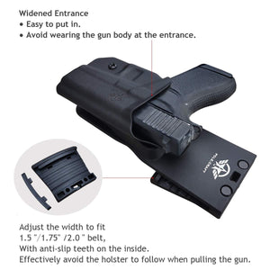 PoLe.Craft OWB Kydex Holster Custom Fit: Glock 43 / Glock 43X (Gen 3 4 5) Pistol - Outside Waistband Carry 1.5-2 Inch Belt Clip - Adj. Width/Height/Retention/Cant, Entrance Widened (Black, Right Hand Draw (OWB)) - PoLe.Craft Holster & Knives