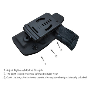 Kydex OWB Holster Fit: Sig Sauer P365 Holsters P365 SAS Gun Pistol Case - Sig Sauer P365 OWB Holster - Waistband Outside Carry - 1.5-2 Inch Belt Clip with Lock - Adj. Width Height Cant, Entrance Widen - Black - PoLe.Craft Holster & Knives