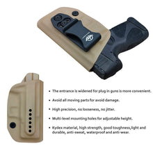Load image into Gallery viewer, G2C IWB Holster Fit: Taurus G2C & Millennium PT111 G2 / PT140 Concealed Holster for Taurus G2C 9mm - Kydex Holster Taurus PT111 G2C Concealed Carry Pistol Case - Adj. Height & Cant - Entrance Widen - Tan