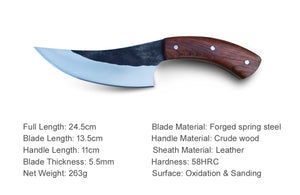 Pole.Craft Slicer K2 - Forged Hunting Knife - Fixed Blade - Camping Knife - with Leather Sheath