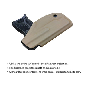 Kydex IWB Holster Custom Fits: Ruger LCP II - LCP 2 Pistol Case Pocket Inside Waistband Carry Concealed Holster IWB Pistol Pouch Gun Accessories - Point Touching - No Wear - No Jitter - Tan - PoLe.Craft Holster & Knives