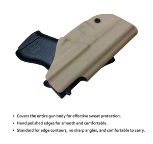 IWB Tactical KYDEX Gun Holster Custom Fits: Glock 43 43X Pistol Case Inside Waistband Carry Concealed Holster Guns Accessories Bag Pistol Pouch - Tan - PoLe.Craft Holster & Knives