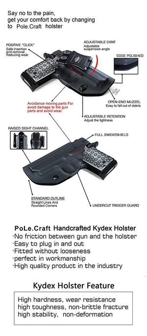 IWB Tactical KYDEX Holster Custom Fits: Sig Sauer P238 Gun Case Inside Waistband Carry Concealed Holster Pistol Pouch Bag Accessories - Black - PoLe.Craft Holster & Knives