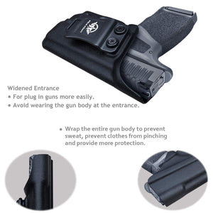 IWB Kydex Holster Custom Fit: Springfield Armory Hellcat - Inside Waistband Concealed Carry - Cover Mag-Button - Widened Entrance - No Wear, No Jitter