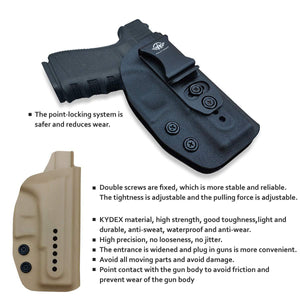 IWB Kydex Holster Fits: Glock 19 19X / Glock 23 / Glock 25 / Glock 32 (Gen 1-5) / Cz P10 Pistol Case Inside Waistband Carry Concealed Holster Glock 19 Guns - Adj. Height & Cant - Entrance Widen - Black - PoLe.Craft Holster & Knives