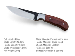 PoLe.Craft Hunter G4 - Forged Hunting Knife - Fixed Blade - Camping Knife - Survival Knife - with Leather Sheath Case