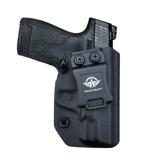 Kydex IWB Holster Fit: Smith & Wesson M&P Shield 9mm .40 S&W Pistol Case Concealed Carry - Inside Waistband Carry Concealed Holster M&P Shield 9mm .40 - Black - PoLe.Craft Holster & Knives