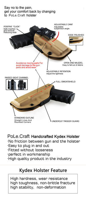 Kydex IWB Holster Custom Fits: Glock 26 / Glock 27 / Glock 33 Pistol Case Inside Waistband Carry Concealed Holster Guns Accessories - Point Touching - No Wear - No Jitter - Tan - PoLe.Craft Holster & Knives