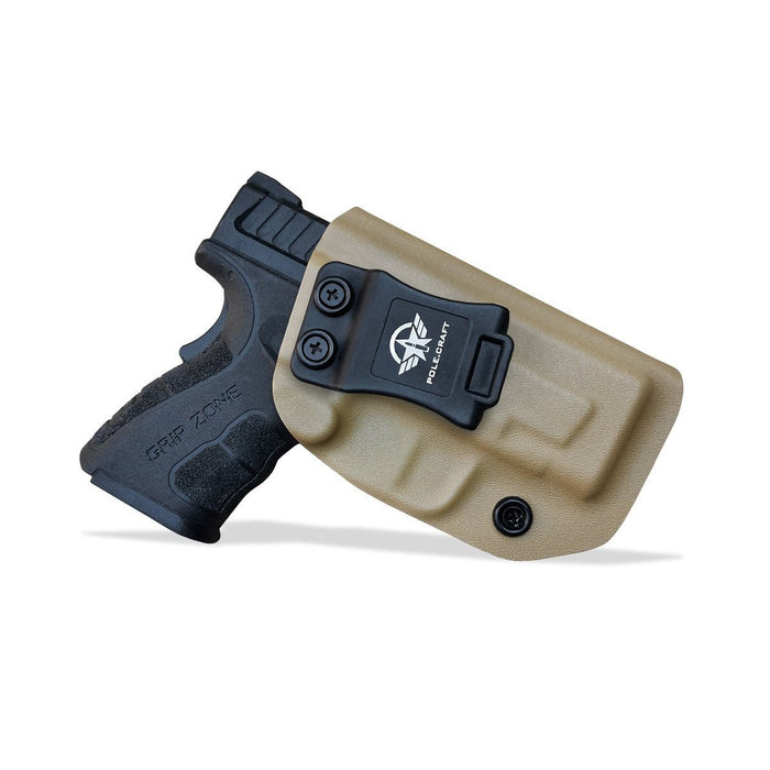 IWB Tactical KYDEX Gun Holster Custom Fits: SpringField XD-9 Single Stack Pistol Case Inside Waistband Carry Concealed Holster Guns Accessories Pouch Bag - Tan