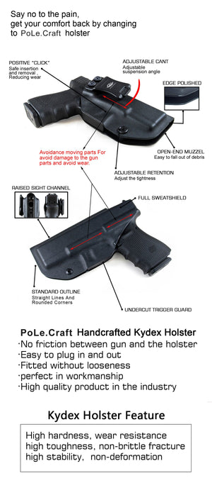 Kydex IWB Holster Custom Fits: Glock 21 Glock 20 (Gen 3 4 5) Concealed Carry - Inside Waistband Carry Concealed Holster Glock 21 Pistol Case Kydex Guns Accessories - Point Touching, No Wear, No Jitter - Black - PoLe.Craft Holster & Knives