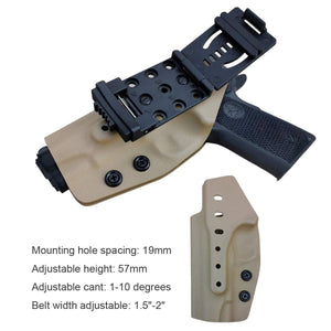"Kydex OWB Holster Fits: Colt Commander 1911 .45 / 9mm / 4.25"" / 4.5"" / PT1911 Gun Holster Outside Waistband Carry Pistol Case 1.5-2 Inch Belt Clip With Lock - Adj. Width Height Cant - Entrance Widen - Tan"