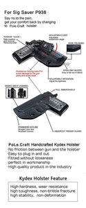 Kydex IWB Holster Fits: Sig Sauer P938 Pistol Case Inside Waistband Carry Concealed Holster P938 Gun Accessories - Tan