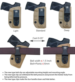 G2C IWB Holster Fit: Taurus G2C & Millennium PT111 G2 / PT140 Concealed Holster for Taurus G2C 9mm - Kydex Holster Taurus PT111 G2C Concealed Carry Pistol Case - Adj. Height & Cant - Entrance Widen - Tan - PoLe.Craft Holster & Knives