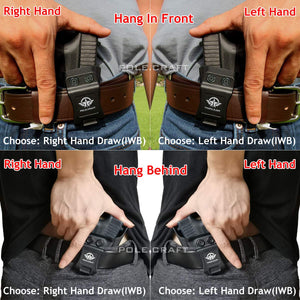 PoLe.Craft IWB Kydex Holster Custom Fit: Glock43 / Glock 43X (Gen 1-5) Pistol - Inside Waistband Concealed Carry - Cover Mag-Button, Widened Entrance, No Wear, No Jitter - Black