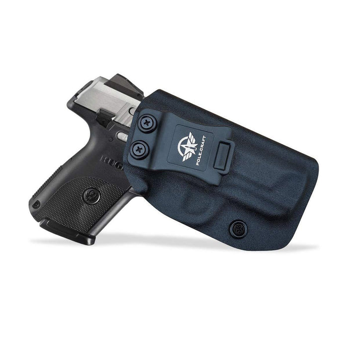 IWB Kydex Holster Custom Fit: Ruger SR9C Pistol - Inside Waistband Concealed Carry - Adj. Cant Retention - Cover Mag-Button - No Wear - No Jitter - Black