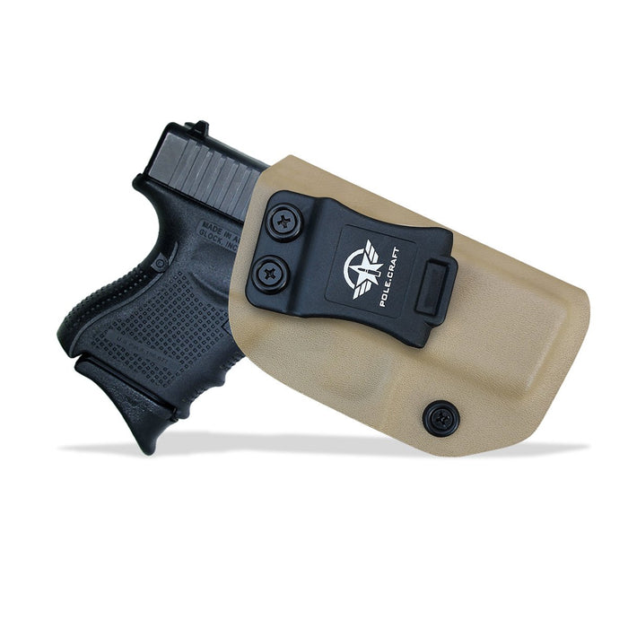 IWB Tactical KYDEX Gun Holster Custom Fits: Glock 43 43X Pistol Case Inside Waistband Carry Concealed Holster Guns Accessories Bag Pistol Pouch - Tan