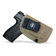 Load image into Gallery viewer, Kydex IWB Holster Fit: Smith & Wesson M&P 45 Shield M2.0 9mm .40 S&W / Crimson Trace Laser Concealed Carry - Inside Waistband Carry Concealed Holster M&P Shield 9mm - Tan