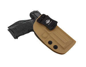 HK VP9 Holster IWB Kydex For Heckler & Koch (H&K) VP9 VP40 Concealed Carry - Inside Waistband Carry Concealed Holster VP9 H&K VP40 Pistol Case Guns Accessories - Point Touching, No Wear, No Jitter - Tan