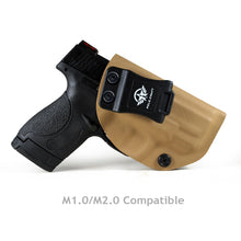 Load image into Gallery viewer, Kydex IWB Holster Fit: Smith & Wesson M&P Shield 9mm .40 S&W Pistol Case Concealed Carry - Inside Waistband Carry Concealed Holster M&P Shield 9mm .40 - Tan