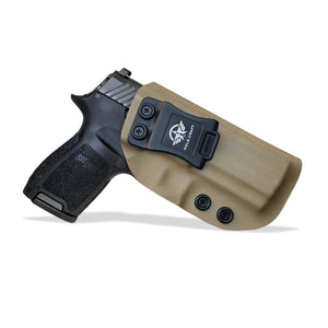 Kydex IWB Holster Custom Fit Sig Sauer P320 Carry / P320 Compact Medium Pistol Case - Inside Waistband Carry Concealed Holster P320 Gun Accessories - Point Touch - No Wear - No Jitter - Tan - PoLe.Craft Holster & Knives