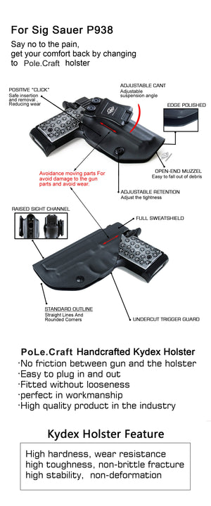Kydex IWB Holster Fits: Sig Sauer P938 Pistol Case Inside Waistband Carry Concealed Holster P938 Gun Accessories - Black - PoLe.Craft Holster & Knives