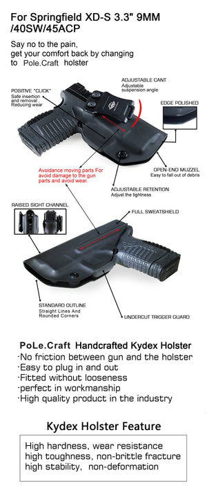 "IWB Tactical KYDEX Gun Holster Custom Fits: Springfield XD-S 3.3"" 9mm .40 S&W .45ACP Single Stack Pistol Case Inside Waistband Carry Concealed Holster Guns Pouch Bag - Black - PoLe.Craft Holster & Knives"