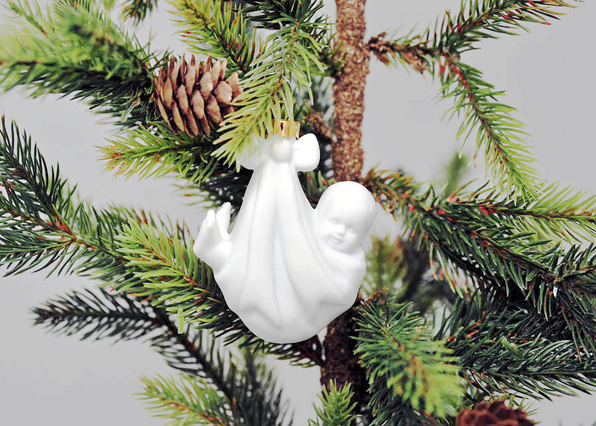 Case of 12 -  Porcelain Baby's First Christmas Ornament BLANK Read to decorate