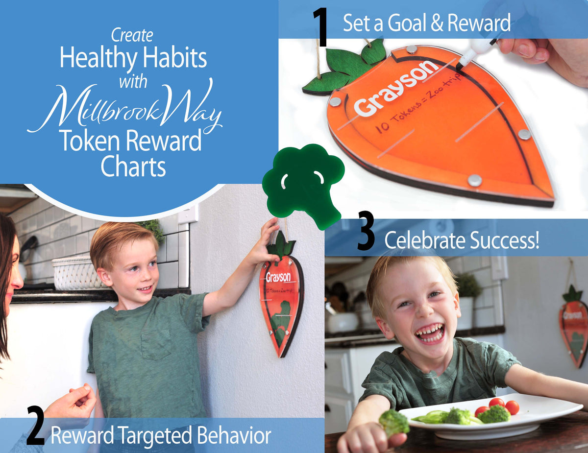 Token Reward Chart for Picky Eaters - Incentive Chart - Motivates Kids to Eat Vegetables!  Autism - Toddlers - Kids - Personalized