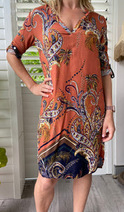 Freda and Dick tunic dress - Rust paisley