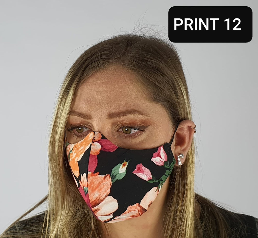 Face mask viscose - black colourful floral