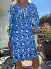 Load image into Gallery viewer, Hatleys Dani French Terry dress - block medallion blue
