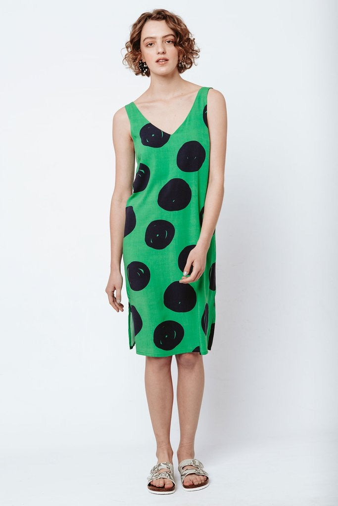Good shift dress - Green polka