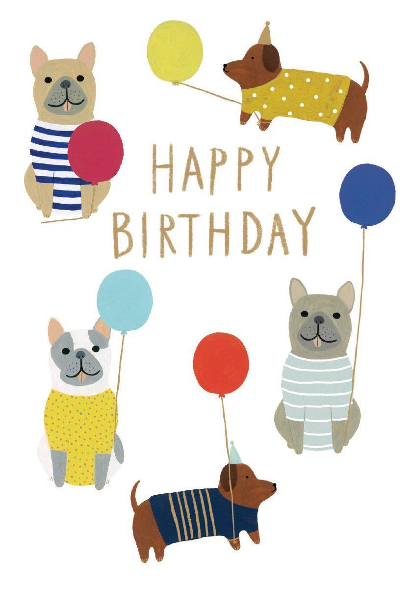 RLB Dogs with balloons petite card