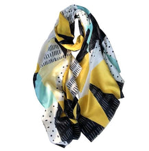 Load image into Gallery viewer, Scarf - pale yellow blue retro