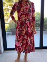 Load image into Gallery viewer, Mastik Peasant dress - bright maroon floral
