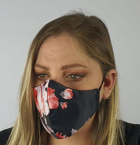 Face mask satin - black pink floral