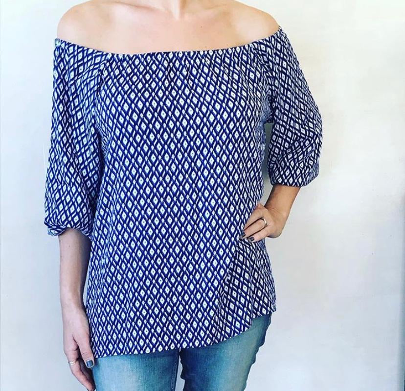 Freda and Dick off shoulder top - blue diamond pattern