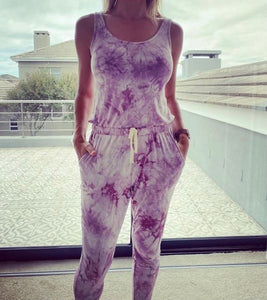 Freda and Dick jumpsuit - Light purple tie dye
