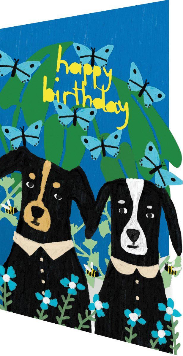 RLB Happy birthday - two dogs and butterflies lasercut card