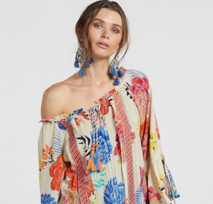 Naudic gypsey blouse - Cream floral