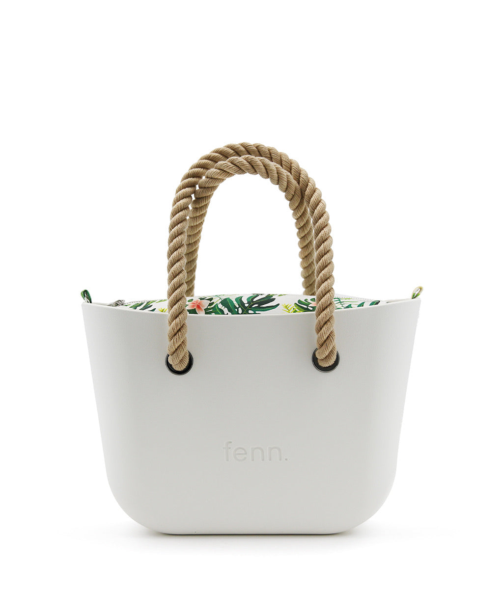Fenn Petite bag - White with patterned inner and top handle