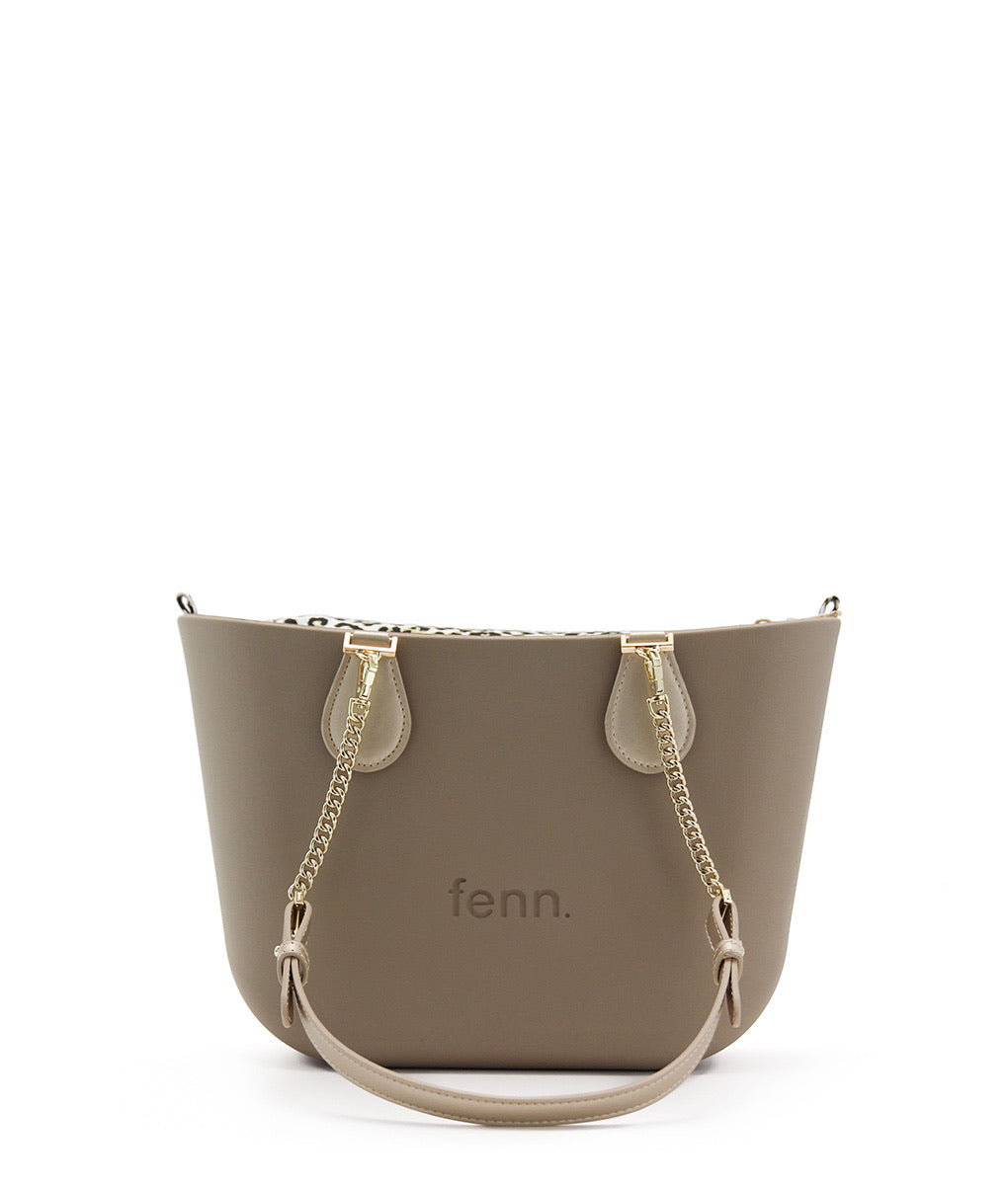 New Petite Fenn bag - Stone with Gold/gold chain handle and leopard print inner