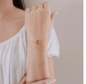 Hollow circle disc bracelet - Silver gold plated
