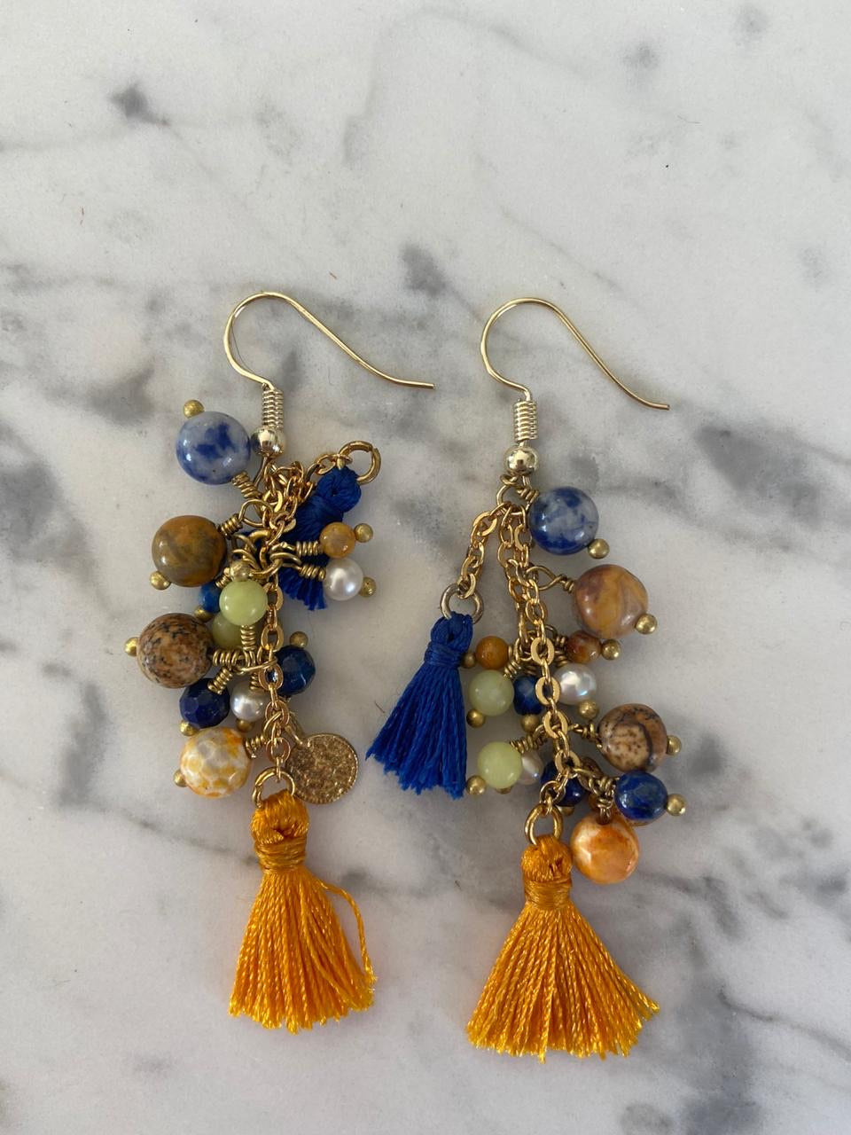 Joya bead and tassle earrings - mustard and navy