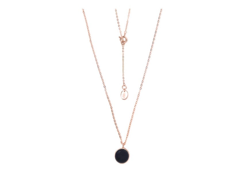 Onyx pendant necklace - Silver rose gold plated