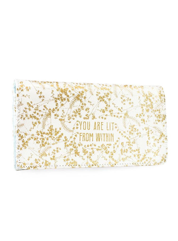 Papaya trifold wallet white gilded flowers
