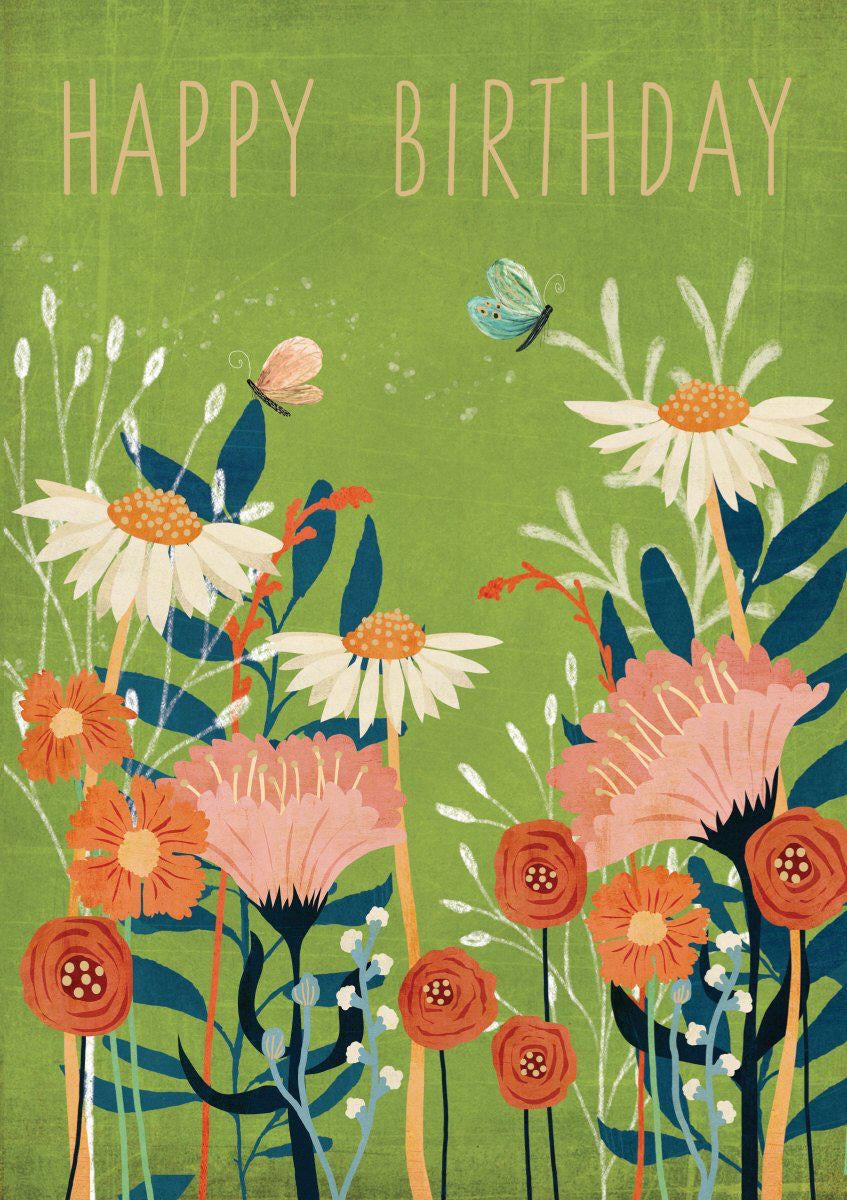 RLB Happy birthday butterfly flowers card